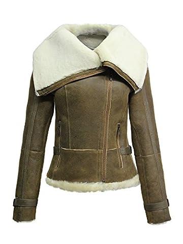 Brandslock Mesdames femmes courtes Aménagée Vintage Biker Real Style Shearling Sheepskin Aviator (L/12, rouille)