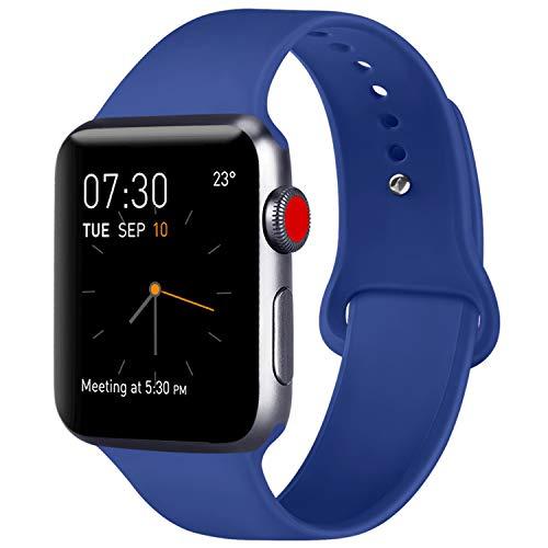 ATUP Correa Compatible para Apple Watch Correa 38mm 42mm 40mm 44mm, Correa de Repuesto de Silicona Suave para iWatch Series 4, Series 3, Series 2, Series 1 (08 Royal Blue, 38mm/40mm-S/M)