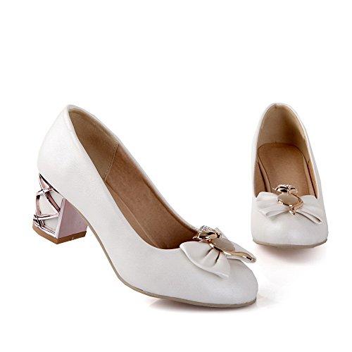 AllhqFashion Damen Ziehen Auf Rund Zehe Mittler Absatz Pu Rein Pumps Schuhe Weiß