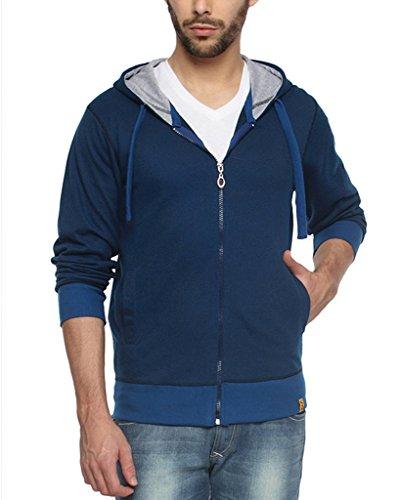 Campus Sutra Blue Mens Premium Zipper Hoodie(AW15_PZH_M_PLN_BU_L)