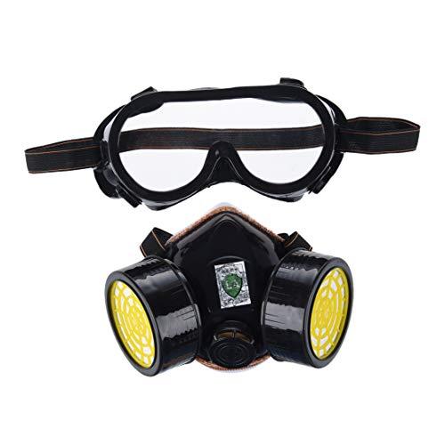 SODIAL (R) Anti-polvere Spray Gas Chemical doppia protezione delle vie respiratorie Vernice Filtro Goggles Maschera