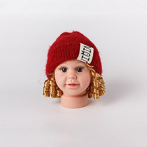 Wanglele Baby Mützen Baby Gestrickte Hüte Zwei Lange Zöpfe Und Kinder Hat Im Herbst Und Winter Männer Und Frauen Warme Ohrenwärmer, Wein Rot, (40-43 Cm 0-1 Jahre Alt) Warmen Zopf-hüte Für Frauen