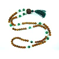 Mogul Interior Adult Gift For Yoga- Rudraksha Jade, Moon Stone Spiritual Meditation Mala, Bring Fortune 14.5 inches White