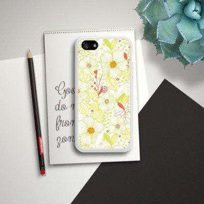Apple iPhone 4 Housse Étui Silicone Coque Protection Fleur Été Printemps Housse en silicone blanc