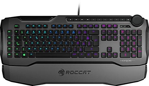 ROCCAT Horde AIMO - Clavier Gaming Membranical RGB, Rétroéclairage LED AIMO, disposition des touches optimisée, macros Quick-fire, Molette de Commande configurable, USB, gris