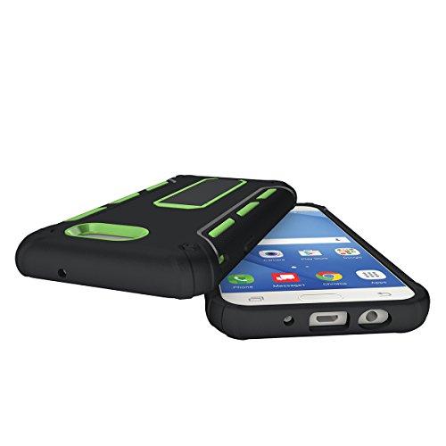 Galaxy A3(2017) Hülle mit Klappständer,EVERGREENBUYING Hybrid Schein SM-A320F Tasche Ultra-dünne Schutzhülle Case Cover mit Ständer Etui für Samsung GALAXY A3 (2017 Version Only) Grün Grün