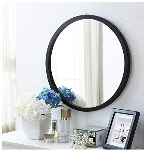 Weißer runder Spiegel, einfacher moderner Frisiertischspiegel Wandbehang nagelfreier Spiegel Badezimmerspiegel runder Spiegel mit Holzrahmen Dekorativer Spiegel, für Wohnzimmer oder Badezimmer(60cm)
