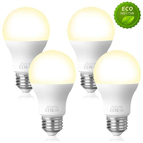 Fitop Smart LED-Lampe E27 WLAN Glühbirne, 2700K Warmweiß Birne 9W 806LM, Kompatibel mit Siri, Alexa und Google Assistant, Dimmbares LED-Licht, Wifi Lampe, kein Hub benötigt (4 Stück)