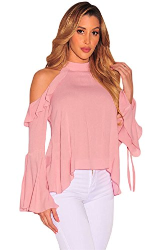 new-ladies-pink-bell-sleeve-ruffle-cold-shoulder-top-club-wear-summer-casual-partytops-size-m-uk-10-