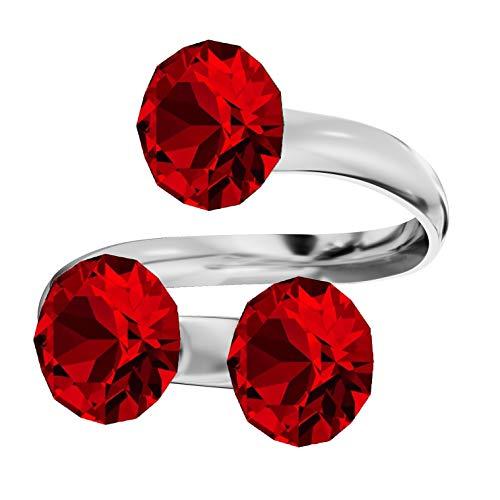 **Beforya Paris** Ring Dreifach *XIRIUS* *Viele Farben* Swarovski® Elements - 925 Sterling Silber Damen Ring Größe Verstellbar! Sheer elegante Ring! PIN/75 (Light Siam)