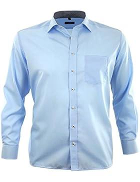 ETERNA Herren Langarm Hemd Comfort Fit Chambray New Kent Kragen Brusttasche mit Patch 8220.E767 (Kragenweite:...