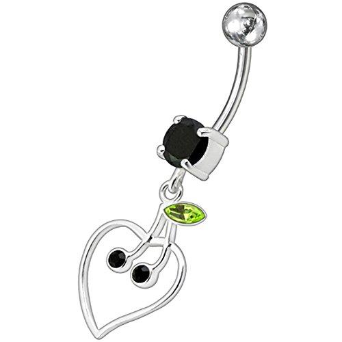 Pierre en cristal mode Triple Cherry en coeur Design 925 Sterling Silver avec acier inox Belly Black