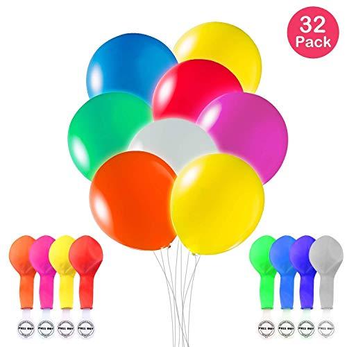 (Leuchtballons LED 32 Stück Mischfarben Glow in The Dark Luftballons mit Blitzlichtern für Geburtstag, Party und Hochzeit Dekorationen, mit Luft oder Helium aufblasen (8 color))