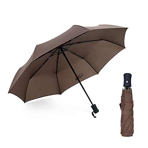 KOBWA Reise Regenschirm Winddicht Sun Schutz Compact–ergonomischer Anti-Rutsch Griff, automatisch öffnen/schließen für Einhandbedienung, Inklusive Tragetasche, Coffee
