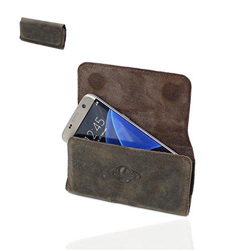 Smart-Planet® Design Echt Leder Gürteltasche 4XL - iPhone 8 Plus XS Max Hülle - Huawei 20 Pro Honor P20 Pro OnePlus 6 - Quertasche Vintage Look braun
