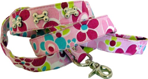 Halsband Pink Flowers aus kräftigen Canvas Material – Wir schenken Ihnen die Leine dazu - 3