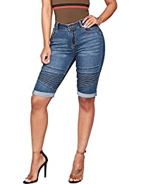 Guiran Pantalones Cortos Mujer Biker Shorts Vaqueros Jeans Push Up  Boyfriend Cintura Alta Bermudas Azul Oscuro bc9b520900a