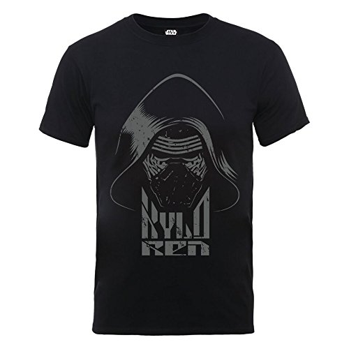 Star Wars VII Kylo Ren Head Grey - Camiseta para Hombre, Color Negro, Talla L