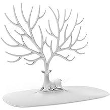 Pixnor Bracciale titolare gioielli collana cremagliera per uso domestico materiale ABS cervi albero (bianco)