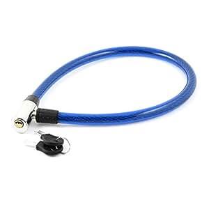 Couleur Argent Blue Bicycle Moto Antivol câble flexible w 2 Clés