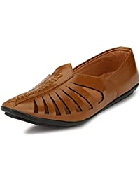 Shoe Fab New Tan Synthetic Leather Casual Sandals For Men