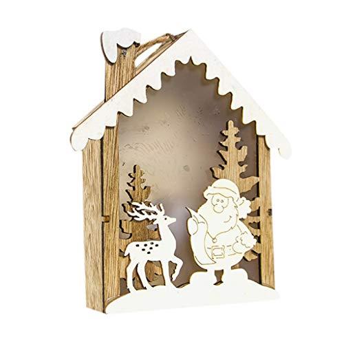 HSKB Weihnachtsbaum Baumschmuck Anhänger mit Glow Christbaum Holz Holzhaus Dekobaum Haengen Dekorationen Hochzeit Weihnachten für Hängende Accessoires Weihnachts Deko Puppen Dekoration Anhänger (A)