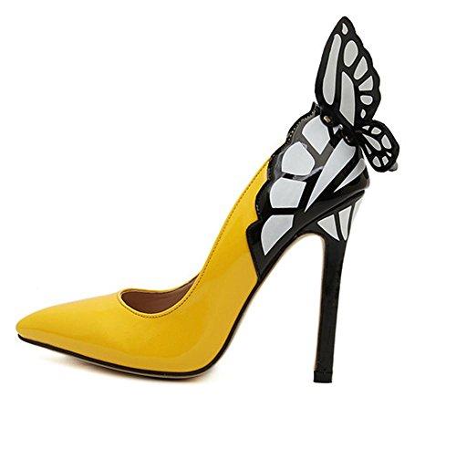 YMXJB Europe et pointus talons hauts en cuir chaussure femmes Yellow