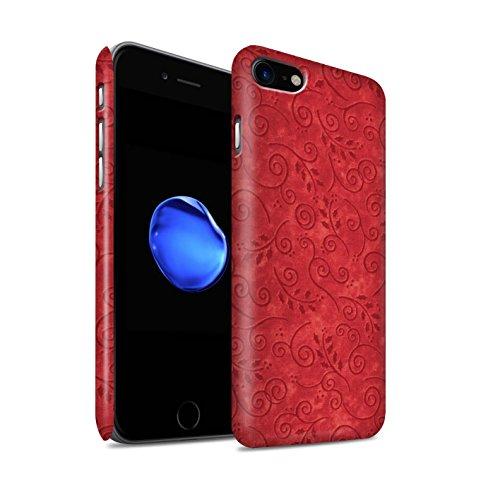STUFF4 Matte Snap-On Hülle / Case für Apple iPhone 8 / Pack (8 pcs) / Blatt-Strudel-Muster Kollektion Rot
