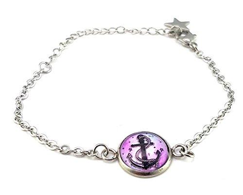 Stechschmuck Armband Armkette Anker Maritim Rockabilly Vintage Oldschool 50er Jahre Damen Kinder Lila Schwarz 14mm Nickelfrei
