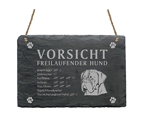 Schiefertafel « BOXER - VORSICHT FREILAUFENDER HUND » ca.22 x 16 cm - Schild mit Hund
