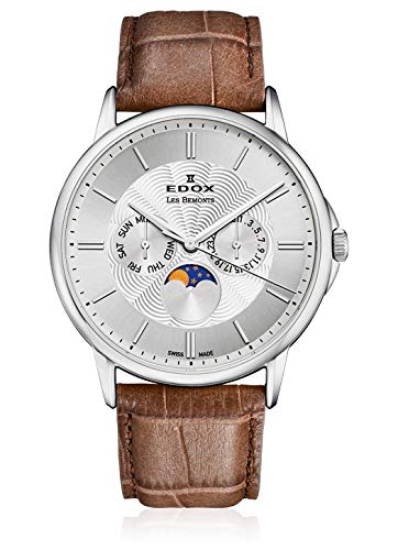 Edox Gents-Wristwatch Les Bémonts Moon Phase Complication Date Weekday Moon Phase Analog Quartz 40002 3 AIN Reloj de Pulsera para Hombre