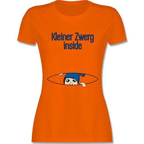 Schwangerschaft - Babybauch Kleiner Zwerg inside - tailliertes Premium T-Shirt mit Rundhalsausschnitt für Damen Orange