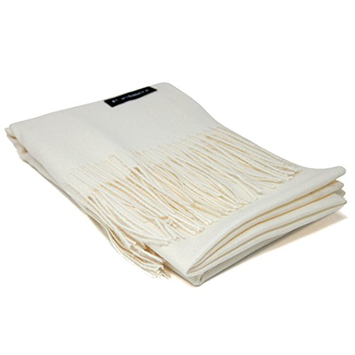 Soft Cashmere Schal aus 100% Kaschmir, in Geschenkverpackung, abnehmbarer Etikett, groß, als Schal, Wickeltuch oder Verkleidung - Weiß - Übergroß - 100% Mongolische Cashmere