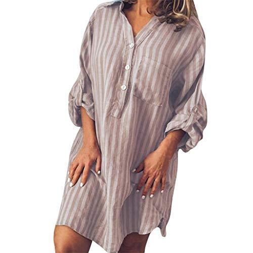BHYDRY Mode Frauen Sommer Casual Button Striped Print Kurzarm V-Ausschnitt Kleid - Maxi-kleid Silber Glanz
