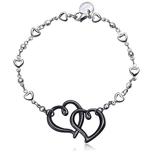 amberma-black-eternal-love-double-heart-charm-pendant-bracelet-sterling-silver-plated-fashion-women-