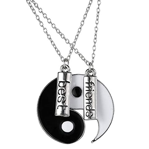 Contever® Alliage 1 Set de 2pcs Couples Amitié Yin Yang Tai Chi Collier Pendentif Set