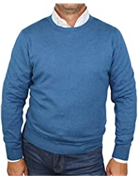 Maglia 1st American da Uomo Cashmere e Seta Pullover Girocollo Manica Lunga  Maglione Cachemire e Seta 301426ae5f8