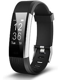 Pulsera inteligente,Pulsera inteligente ID115PLUS HR de frecuencia cardíaca,Fitness Tracker con Pulsómetros,Cronómetro,Gps para running,monitor de ritmo cardiac,Notificación (Deportes negro)