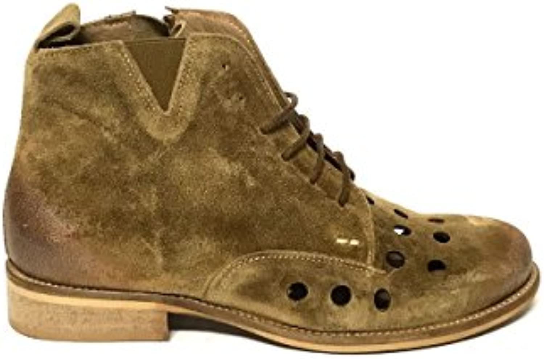 ZETA scarpe Stivaletti Traforati con Lacci in Pelle Vintage Camoscio Cuoio MainApps   Prezzo Pazzesco    Uomini/Donna Scarpa