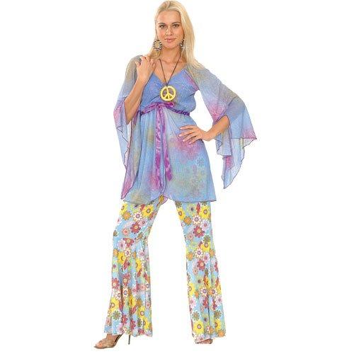 Woodstock Hippie Hippy Verkleidung für Frauen Karneval Halloween Kostüm L