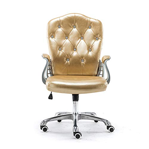 Yuwj sedia da ufficio schienale alto ergonomica bellezza sedia regolabile in altezza sgabello trucco rotante poltrona da lavoro con sedia elevatrice moderna sgabello per parrucchiere,gold