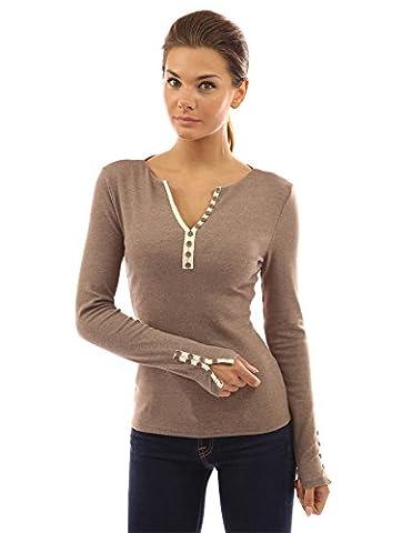 PattyBoutik Women's Notch Neck Buttons Trim Top (Light Heather Brown 8/10)