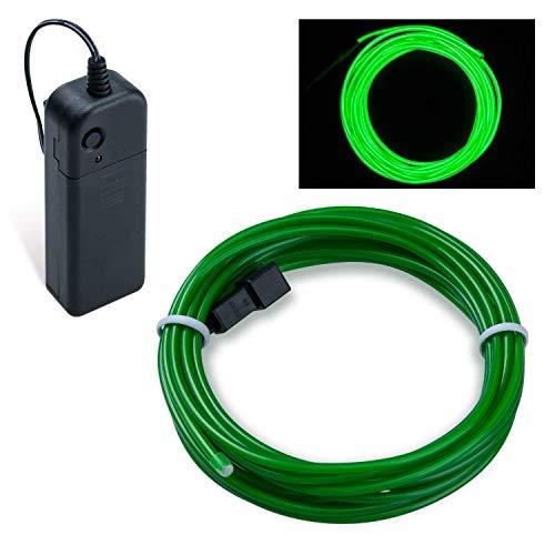 Flexibel 5M 15 FT Neon Beleuchtung Lichtschlauch Leuchtschnur EL Kabel Wire mit 3 Modis für Disco Party Kinder Halloween Kostüm Kleidung Weihnachtsfeiern (Smaragdgrün) ()