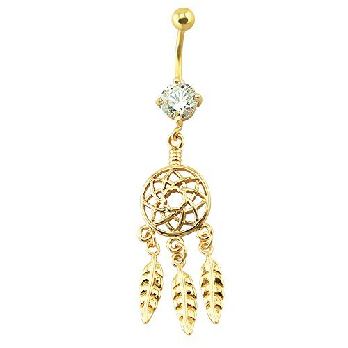 belly button Ring 14 GA baumeln Federn Traumfänger Edelstahl Ion - Button Belly Catcher Dream