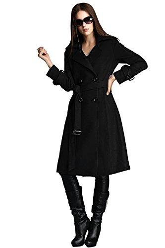 Escalier Solid Zweireiher Damen Warm Winter Wolle Mantel mit Gürtel Gr. 10, Schwarz - Schwarz