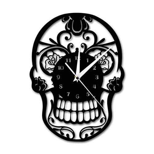 Tag der Toten Sugar Skull Wanduhr mexikanischen Schädel Dia de Muertos Wanduhr Floral Candy Skull dekorative hängende Wanduhr