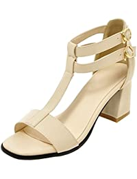 RAZAMAZA Sandali Con Tacco Blocco Donne Moda Scarpe Cinturino Estate (41 EU, Orange)