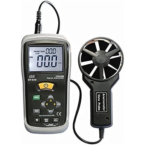 CEM DT-619 Gran pantalla LCD Digital Mini velocidad del viento del metro del calibrador CFM/CMM
