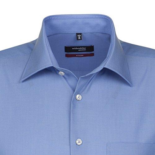 Seidensticker Herren Businesshemd Modern Kurzarm mit Kent-Kragen Bügelfrei Blau (Mittelblau 14)