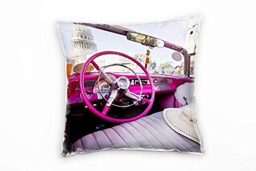 Paul Sinus Art Urban, Altes Auto, Havanna, Pink, Beige Deko Kissen 40x40cm für Couch Sofa Lounge...